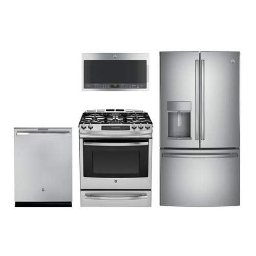 4 Piece Kitchen Package PGS920SEFSS 30 Slide-In Gas range PVM9005SJSS Over the Range Microwave Oven PYE22KSKSS 36 French Door Refrigerator DT845SSJSS 24 Fully Integrated Dishwasher In Stainless Steel (Steel Profile Refrigerator Ge Stainless)