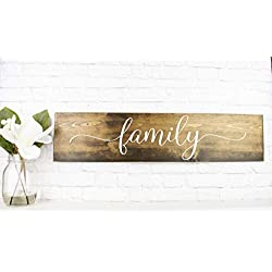 Dark Walnut Family Wooden Sign - Rustic Farmhouse Wood Handmade Decor - Wood Wall Home Decor