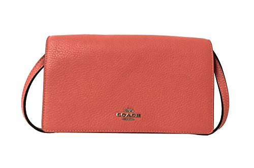Coach Foldover Clutch Wallet Pebbled Leather Crossbody Bag F30256 (SV/Coral)
