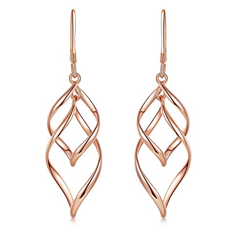 (Rose Gold dangle Earrings Sterling Silver Post Twist Wave Drop Earrings for Women)