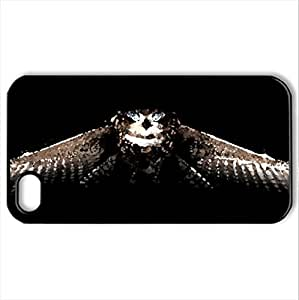 Blue eyed owl - Case Cover for iPhone 4 and 4s (Birds Series, Watercolor style, Black)