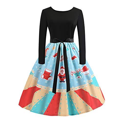 Toimothcn Women's Vintage Long Sleeve Snowman Print Dressees Christmas Evening Party Swing Dress with Belt(Sky Bluea,M)