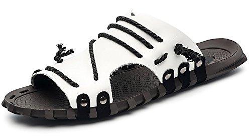 Odema Heren Zomer Lederen Maat Plus Sandalen Open Teen Slip Op Outdoor Indoor Visser Slippers Wit