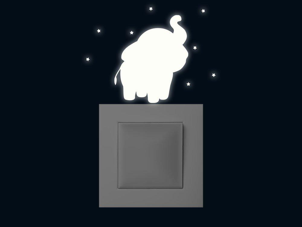 GRAZDesign 340050_10x10cm_NL Leuchtfolie Set 9 Teile fü r Kinderzimmer Selbstklebend Elefant Sterne - Leuchtendes Wandtattoo - Fluoreszierende Tattoos (10x10cm)