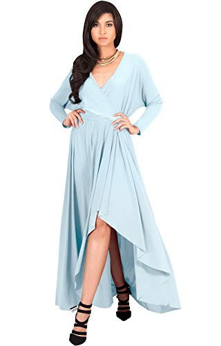 KOH KOH Plus Size Womens Long Sleeve Sleeves Wrap Slit Split Formal Fall Winter Cocktail Sexy Flowy Evening Day Abaya Gown Gowns Maxi Dress Dresses, Baby Light Blue XL 14-16
