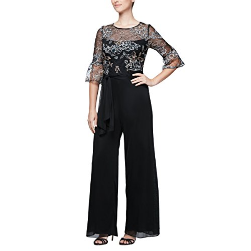 Alex Evenings Women's Embroidered Jumpsuit Illusion Bell Sleeves, Black/Multi, 12 ()