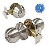 All Keyed Same Entry Door Knobs with Single Cylinder Deadbolt for Exterior Front Doors, Satin Nickel Finish, Keyed Alike for 6 Sets