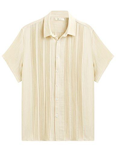 Misakia Men's Short Sleeve Essential Guayabera Embroidered Beach Wedding Shirt (Beige XXL) by Misakia