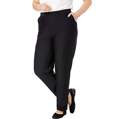 (Woman Within Women's Plus Size Tall Straight Leg Ponte Knit Pant - Pinstripe, 20 T)