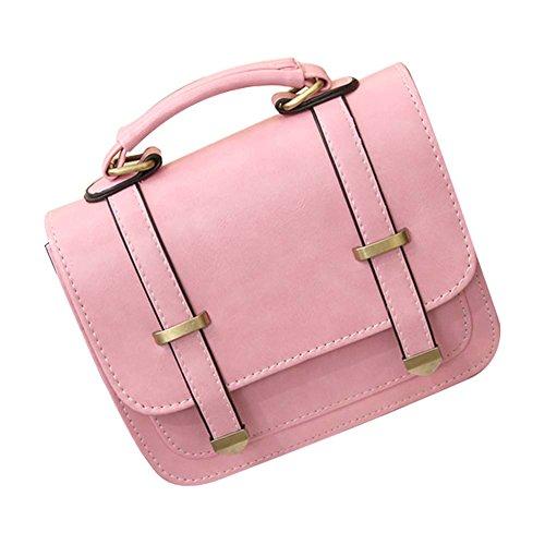 Qiao Nai TM Bolso De Bandolera Hombro Cuero Bolsa De Mano de Mini Para Mujer Rosa