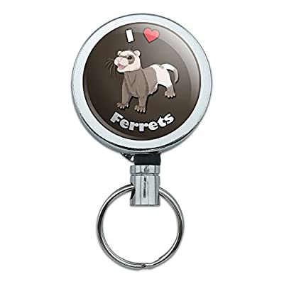 All Metal Retractable Reel Id Badge Key Card Holder With Belt Clip I Love Heart - Dragons Sleeping Fantasy Pink -