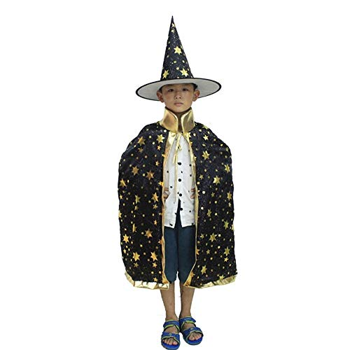 Mingus Kids Girls Boys Halloween Costumes Witch Wizard Cloak Hat Cape Robe Party Props Set Role Play Cosplay Set -