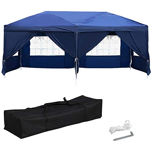 (Yaheetech 10 x 20ft Outdoor Pop Up Canopy Tent Gazebo Party Wedding BBQ Pavilion Canopy Events Tent with 6 Removable Sidewalls and Windows)