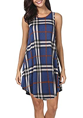 peassa Womens Summer Plaid Sleeveless Pockets Loose Swing Casual T Shirt Dresses