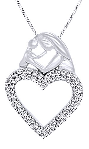 AFFY 1/4 Ct White Diamond Mom & Baby Heart Pendant Necklace In 10K White Gold For Mother's Day (Baby Diamond Heart Pendant)