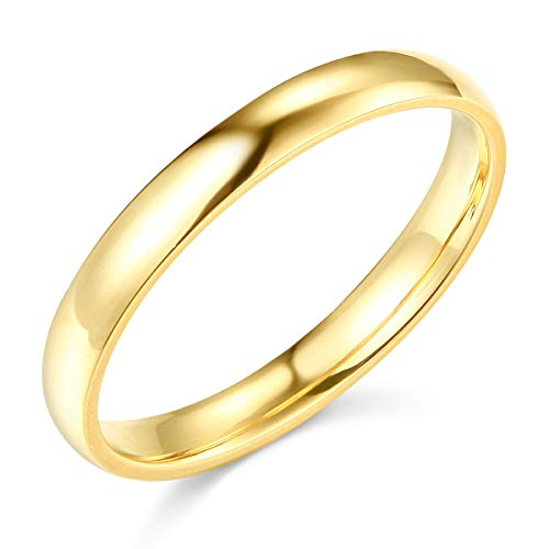 Wellingsale Ladies 14k Yellow Gold Solid 3mm CLASSIC FIT Traditional Wedding Band Ring - Size 10