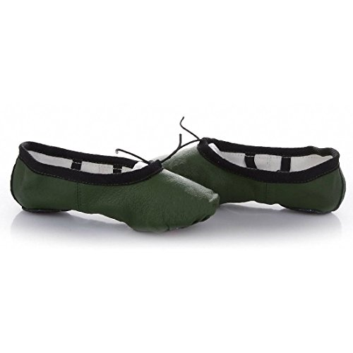 Leather Genuine Shoes Ballet Green Dance Pig Slippers Black Womens Skin Gym 67nOInB