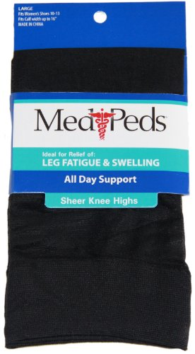 - MediPeds Support Sheer Knee High, Large, Black, 1 Pr