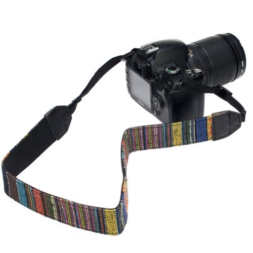 GTMax Vintage Multi-Color Camera Shoulder / Neck Strap for Canon Nikon Sony FujiFilm Panansonic and more Digital SLR Cameras with Cleaning Cloth