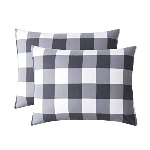(Wake In Cloud - Pack of 2 Pillow Cases, Buffalo Check Gingham Geometric Checker Pattern Printed in Gray Grey White, Soft Microfiber Pillowcases (Standard Size, 20x26 Inches))