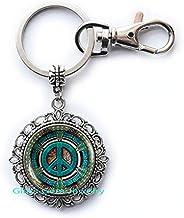 Hippie Keychain, Hippie Key Ring, Hippie Jewelry, Peace Sign Keychain, Peace Jewelry, Peace Key Ring, Men'