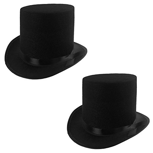 Funny Party Hats Black Felt Top Costume Hat (Black - 2 Pack) -