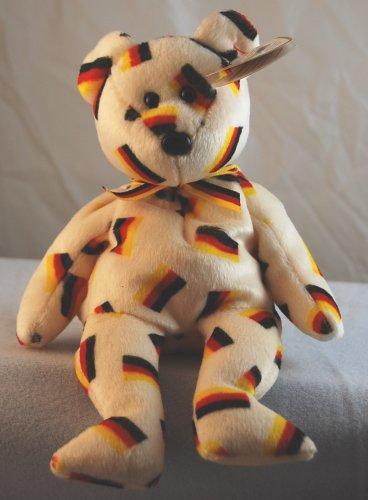 TY Beanie Baby w// Black Nose . DEUTSCHLAND the Bear