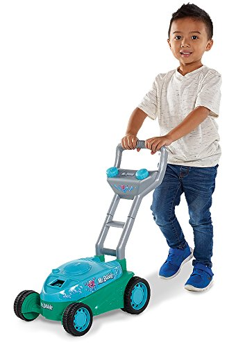 Kid Galaxy Mr. Bubble Lawn Mower Toy, Blue/Teal, 20 x 14 x 10.75