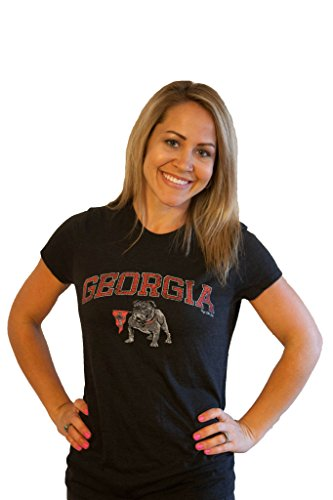 Womens Women's Georgia Bulldogs Shirt by UGA; Black SS Round LG
