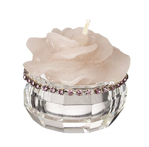 - 5th Avenue Collection Italian Crystal Candle Holder with Rose Candle, Scented - with Pink Crystals