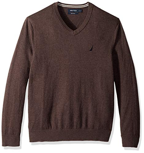 Nautica Men's Long Sleeve Solid Classic V-Neck Sweater, Sable Heather, Small (Distressed Jersey Sweatshirt)