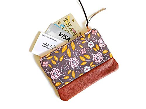 Grey Floral Leather Coin Pouch, Small Change Purse, Leather Pouch, Zipper Coin Pouch by 144 Collection