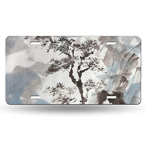 (NGHFJSUY Hazy Artistic Depiction of A Pine Tree License Plate Decorative Metal Card Personality 6