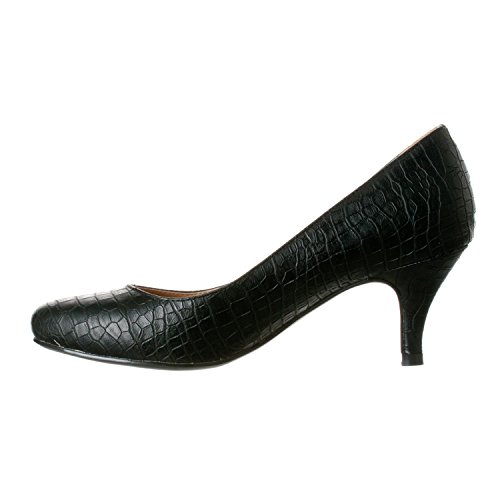 Heels Ruby Croc Women's Pump Height Riverberry Low Toe Black Kitten Round fvgOcW7