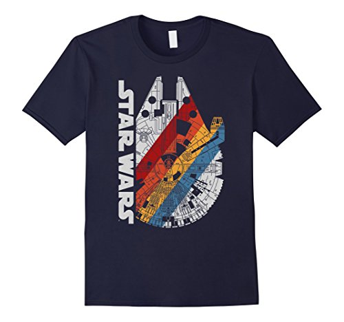 Classic 50's Retro Shirt (Mens Star Wars Millennium Falcon Wears Retro Stripes T-Shirt Medium Navy)