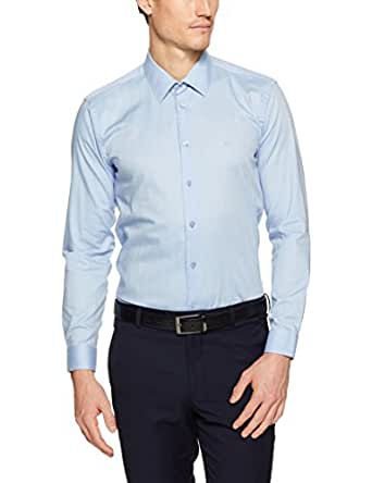 Calvin Klein Men Extreme Slim Fit Herringbone Twill Shirt, Classic Blue, 39
