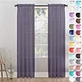 Megachest Woven Voile Slot Top Curtain 2 Panels with tie backs (28 colors) (Grey Lavender, 56' wideX118 drop(W142cmXH300cm))