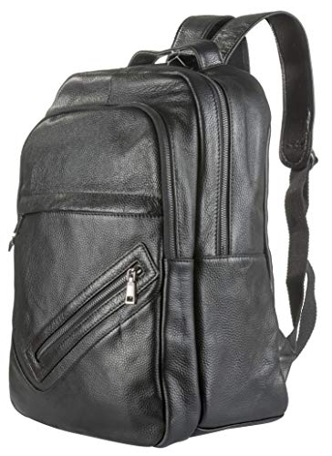 POKOFO Genuine Leather Laptop Backpack for Men Fits 15.6 Inch,Daypack Business College Travel Bag