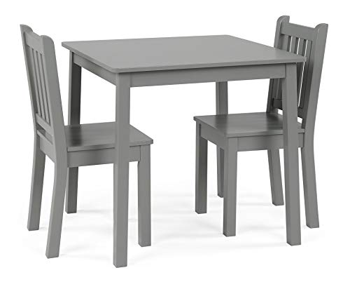 Lions Desk Set (Wood Large Table and 2 Chairs Set, Grey Finish, Sturdy Engineered Wood Construction, Kids Room, Children Playing Area, Durable, Bundle with Our Expert Guide with Tips for Home Arrangement)