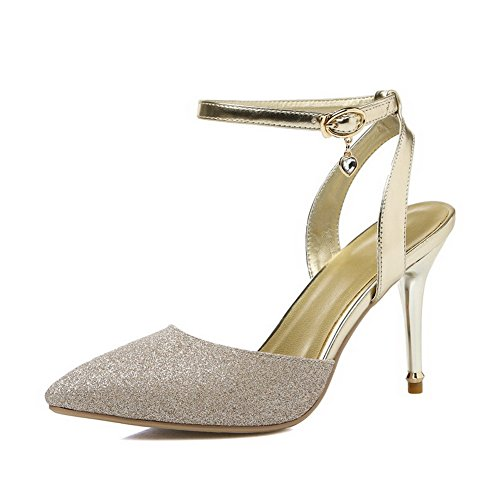 AmoonyFashion Womens High-Heels Soft Leather Solid Buckle Closed-Toe Sandals Gold