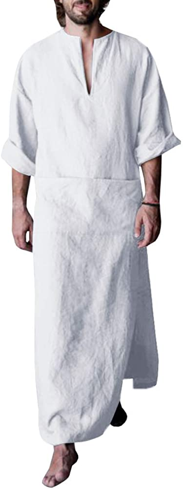 Makkrom Men's V-Neck Long Sleeve Robe Side Split Kaftan Long Gown Thobe for Beach, Summer