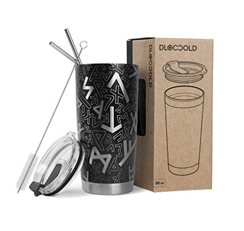 DLOCCOLD 20oz Tumbler Double Wall Stainless Steel Vacuum Insulated Coffee Travel Mug with Lid and Straw (20oz, Black Icelandic)
