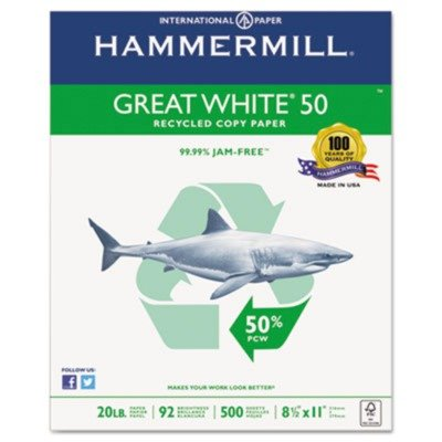 Hammermill Great 50% Recycled Copy Paper, 20lb, 8 1/2 x 11 Inch, 92 Bright, 5000 Sheets/10 Ream Case (Hammermill Recycled Paper)