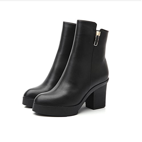 Boots And Autumn Martin With Thick With Winter Winter HGTYU Women'S Wears Waterproof And Leather Plus Velvet Women Female Black Boots Boots Black Shoes Heeled Boots High Warm wRpqp5dW