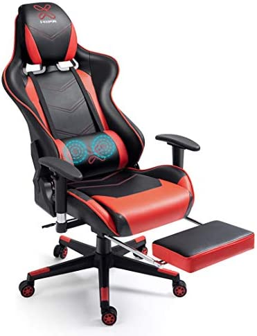 X-VOLSPORT Massage Gaming Chair with Footrest Reclining High Back Computer Chair with Lumbar Support and Headrest, Racing Style Video Gamer Chair Red