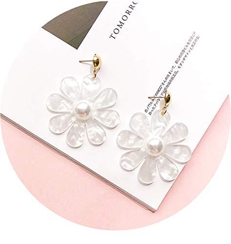 (2019 Fashion New Acetate Acid Pearl Flower Geometric Rectangle Polygon Link Chain Acrylic Long Earrings for Women Girl,A 5.9 cm)