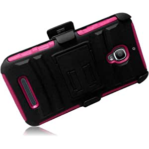 Loving Pink Premium Double Protection 2 in 1 Hard + Silicon Rugged Hybrid DE-Fender Case Cover Protector with Holster Swivel Belt Clip and KickStand for Alcatel One Touch Fierce 7024W (by Metro PCS / T-Mobile) with Free Gift Reliable Accessory Pen