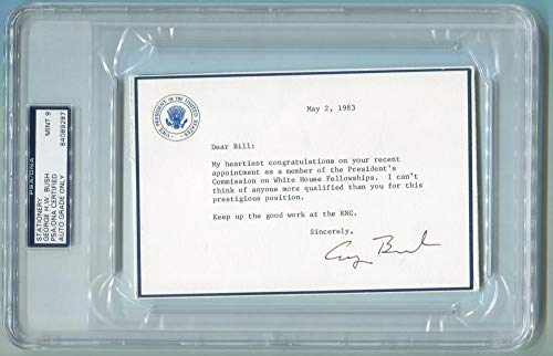 George H.W. Bush Signed VP Stationery. PSA 9 Mint. from Brigandi Coins and Collectibles