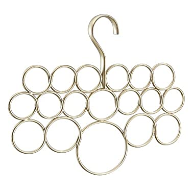 InterDesign Axis Scarf Hanger, No Snag Storage for Scarves, Ties, Belts, Shawls, Pashminas, Accessories - 18 Loops, Pearl Champagne