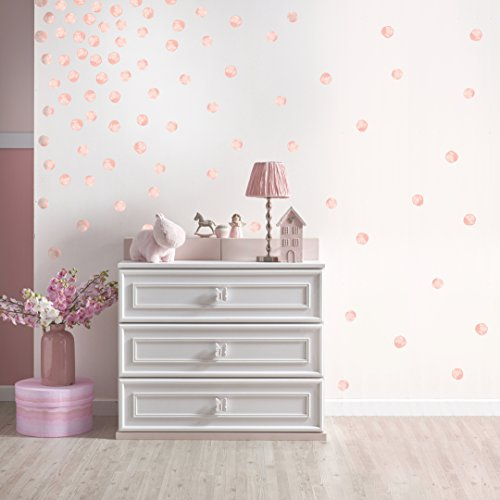Better Than Paint Permanent Wall Decor - Applies Like Decals, No Vinyl Stickers | 144 Blush Pink Watercolor Polka Dots for Walls, Bedroom, Nursery Decor and DIY Room Decorations | By Paper Riot Co.